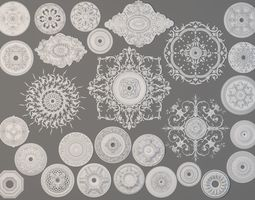 Rosettes Collection -2 - 28 pieces 3D model plaster