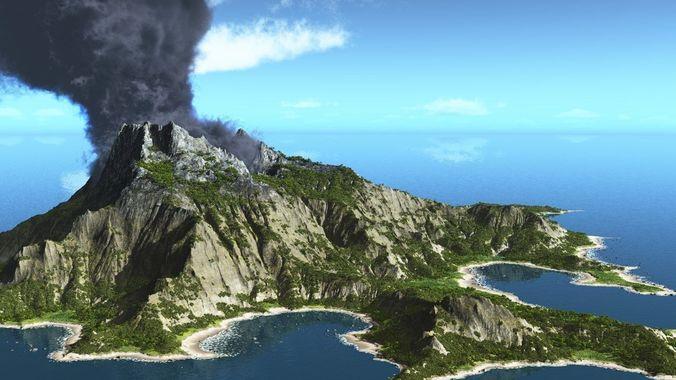 volcano island in vue  3d model vue 1