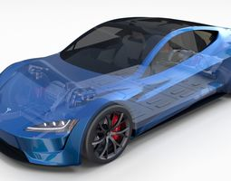 3D model Tesla Roadster 2020 Electric Blue with interior 1