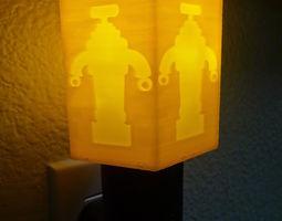 3d printable model robot hexagon night light