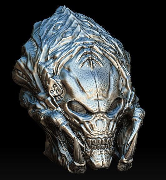 predalien predator bio mask 3d model cgtrader
