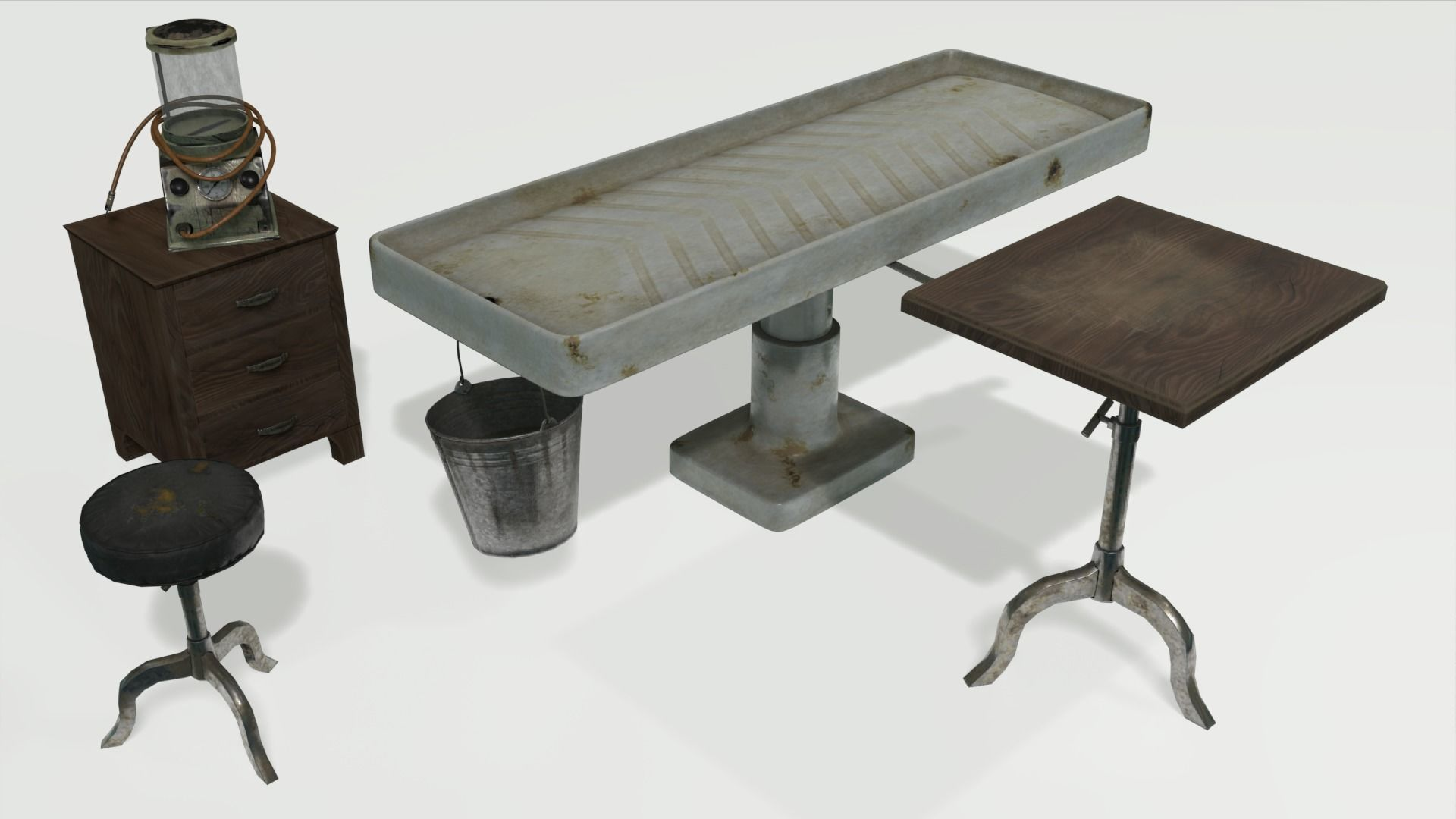 Low Poly Vintage Mortuary Items