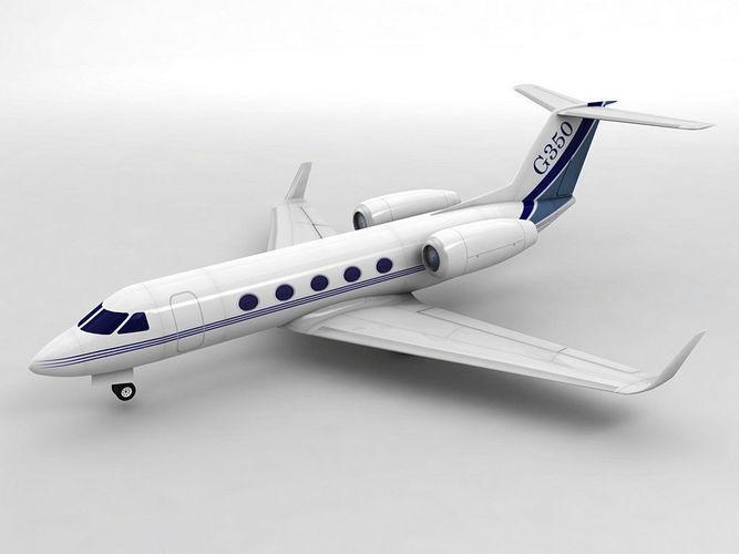 gulfstream g350 aircraft 3d model low-poly max obj mtl 3ds dxf stl wrl wrz 1