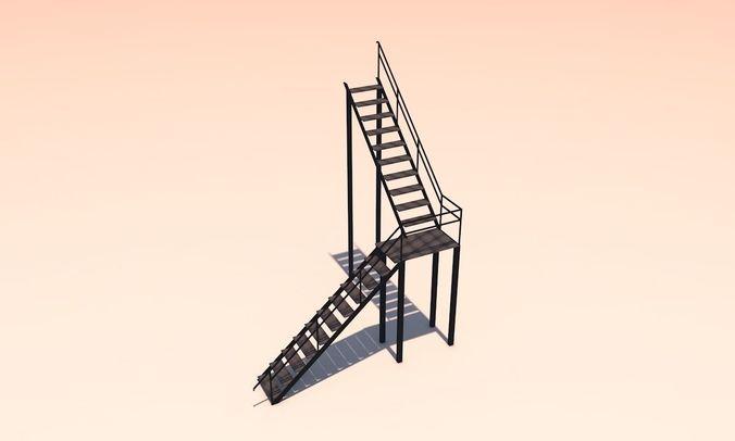 metal stairs 3d model low-poly obj mtl 3ds fbx c4d X 1