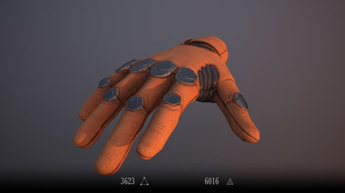 sci-fi glove - rigged and animated 3d model low-poly rigged animated max fbx tga 1