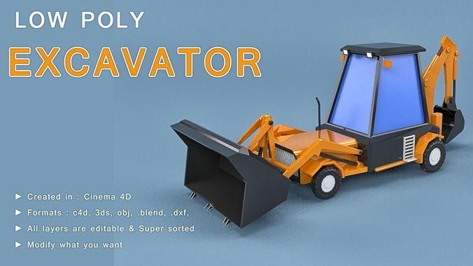 low poly excavator loader 3d model obj mtl 3ds fbx c4d blend 1
