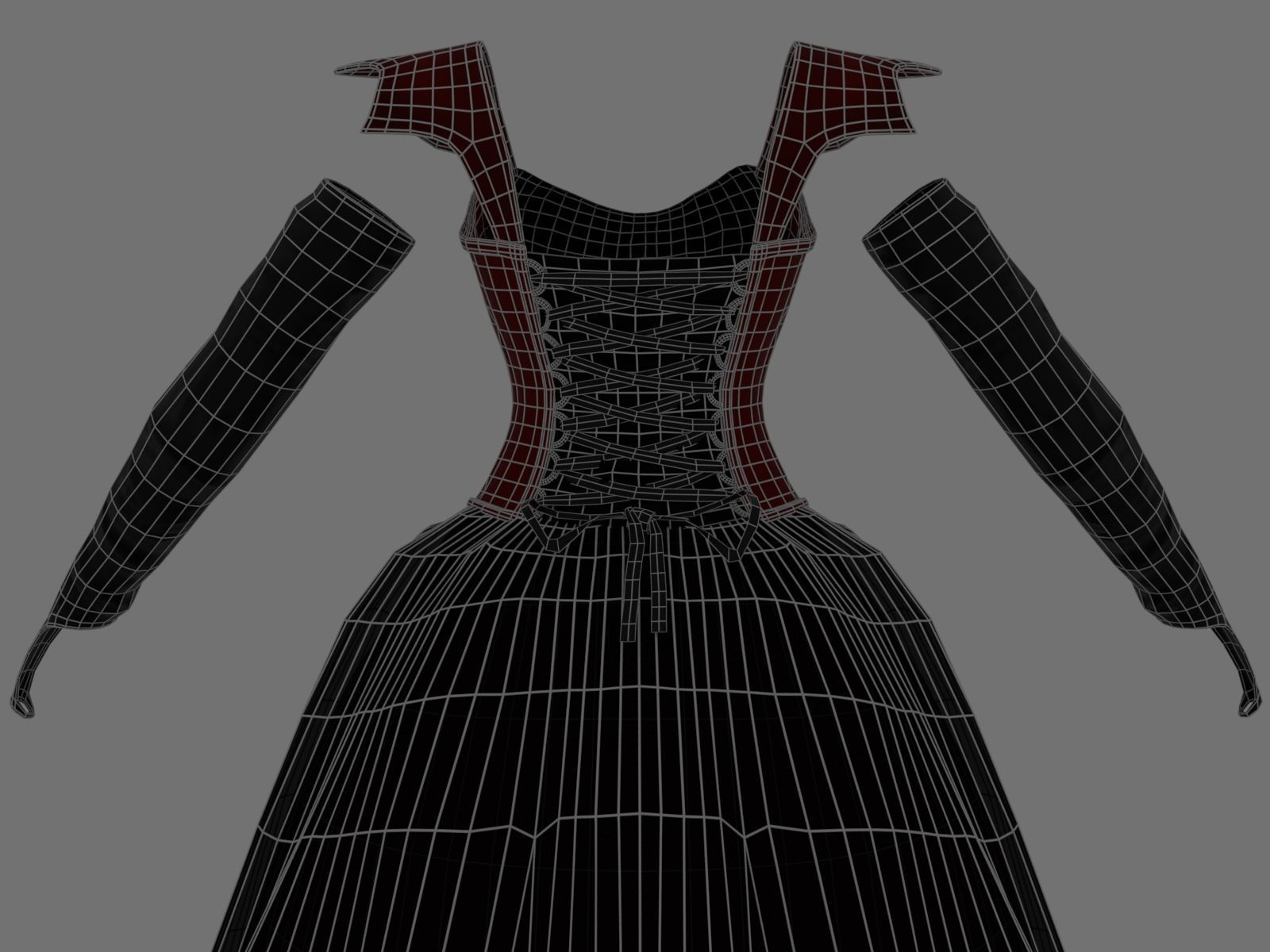 a5b081dbd2f Victorian Gothic Dress 5 Low-poly 3D model
