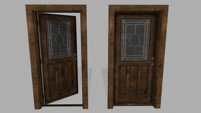 door  2 3d model low-poly obj mtl fbx blend 1