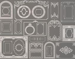 rococo Boiserie Decorations - 30 pieces 3D