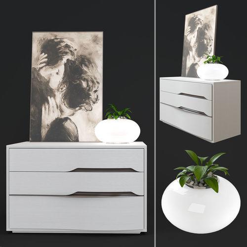 chest of venera from tomasella factory and azzardo flora lamp  3d model max obj mtl 1