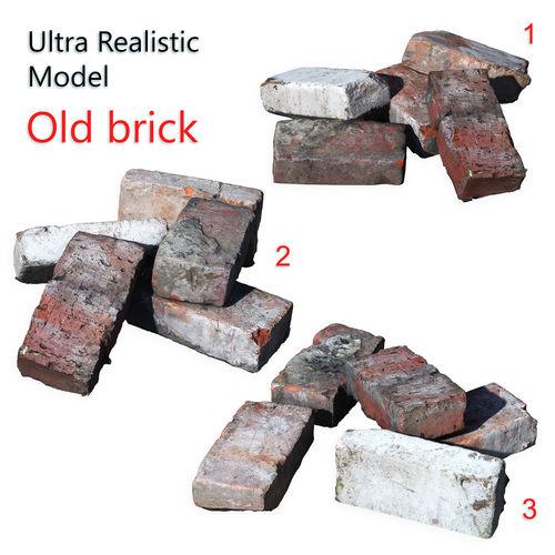 ultra realistic old brick scan 8k hd 3d model low-poly max obj mtl fbx 1