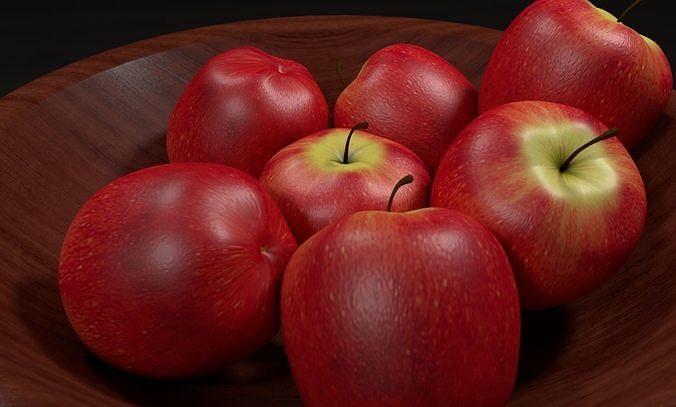 bowl of apples 3d model obj mtl 3ds fbx c4d stl 1