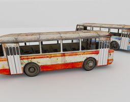 Old rusty city bus LAZ 695 low-polygon 3D VR / AR ready
