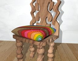 Stylized Wooden Chair with Colorful Back Pillow 3D