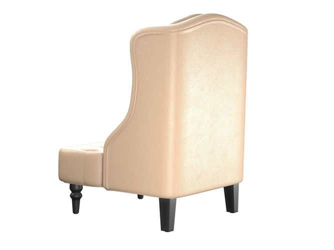 Tall Wingback Tufted Leather Accent Chair With Nail Head Beige Model Obj Mtl Fbx Blend