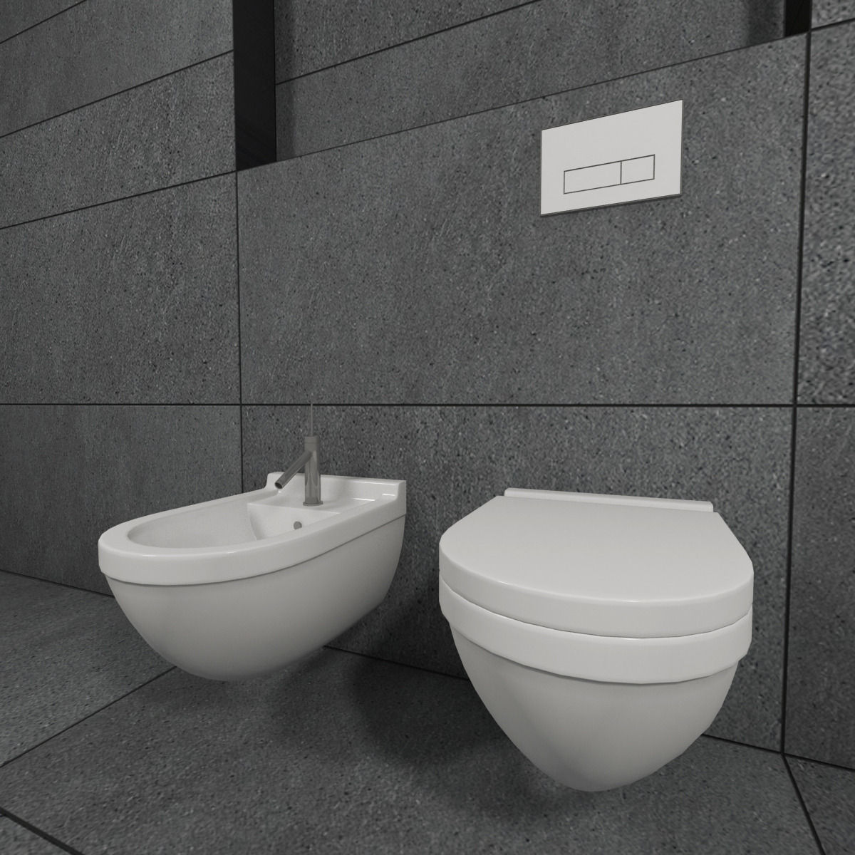 Hanging Commode: Toilet And Bidet Starck3 Hanging 3D Model .max