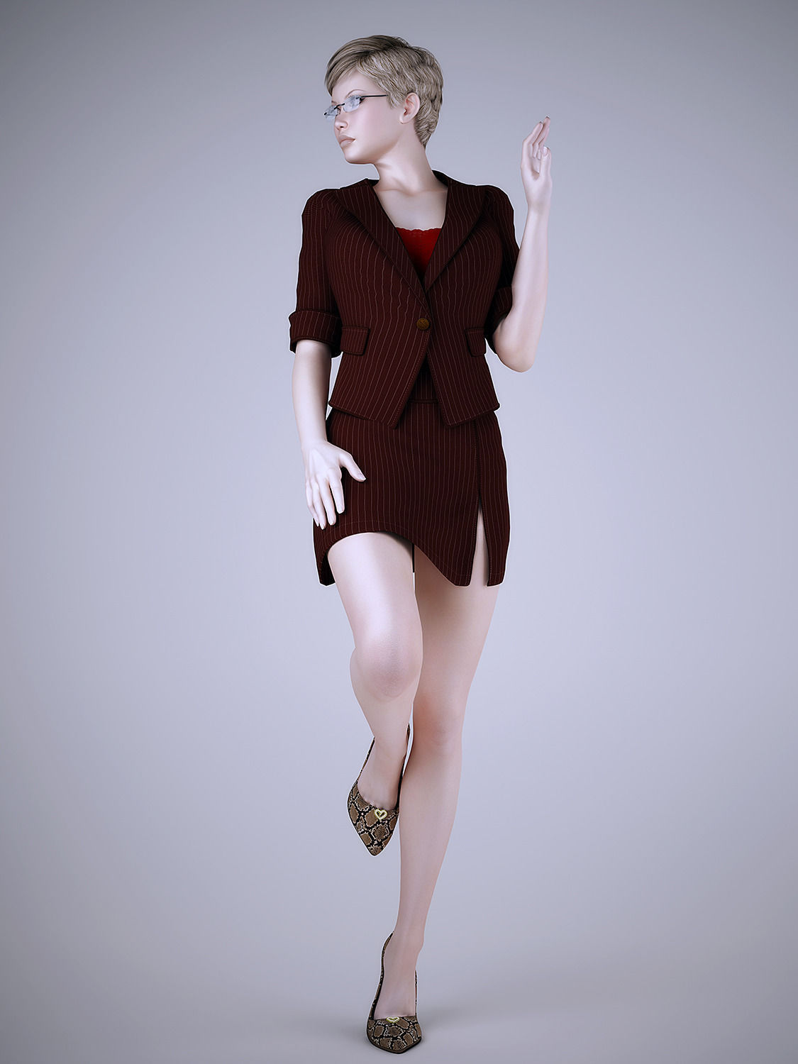 3d Models For Poser And Daz Studio: Wear Work Uniforms Office Girl 3D Model MAX OBJ FBX