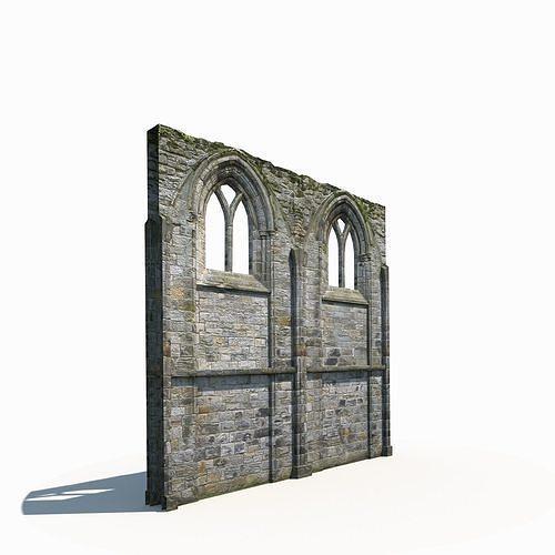 Castle Ruin -Wall Low Poly 3d Model