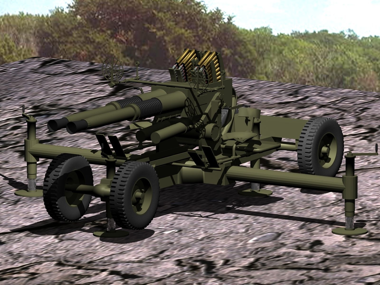 Bofors twin 40mm anti-aircraft gun printable