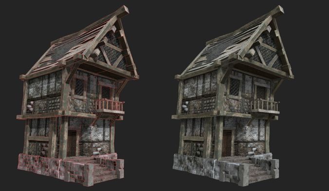 old medieval tavern 3d model low-poly max obj mtl fbx ma mb 1