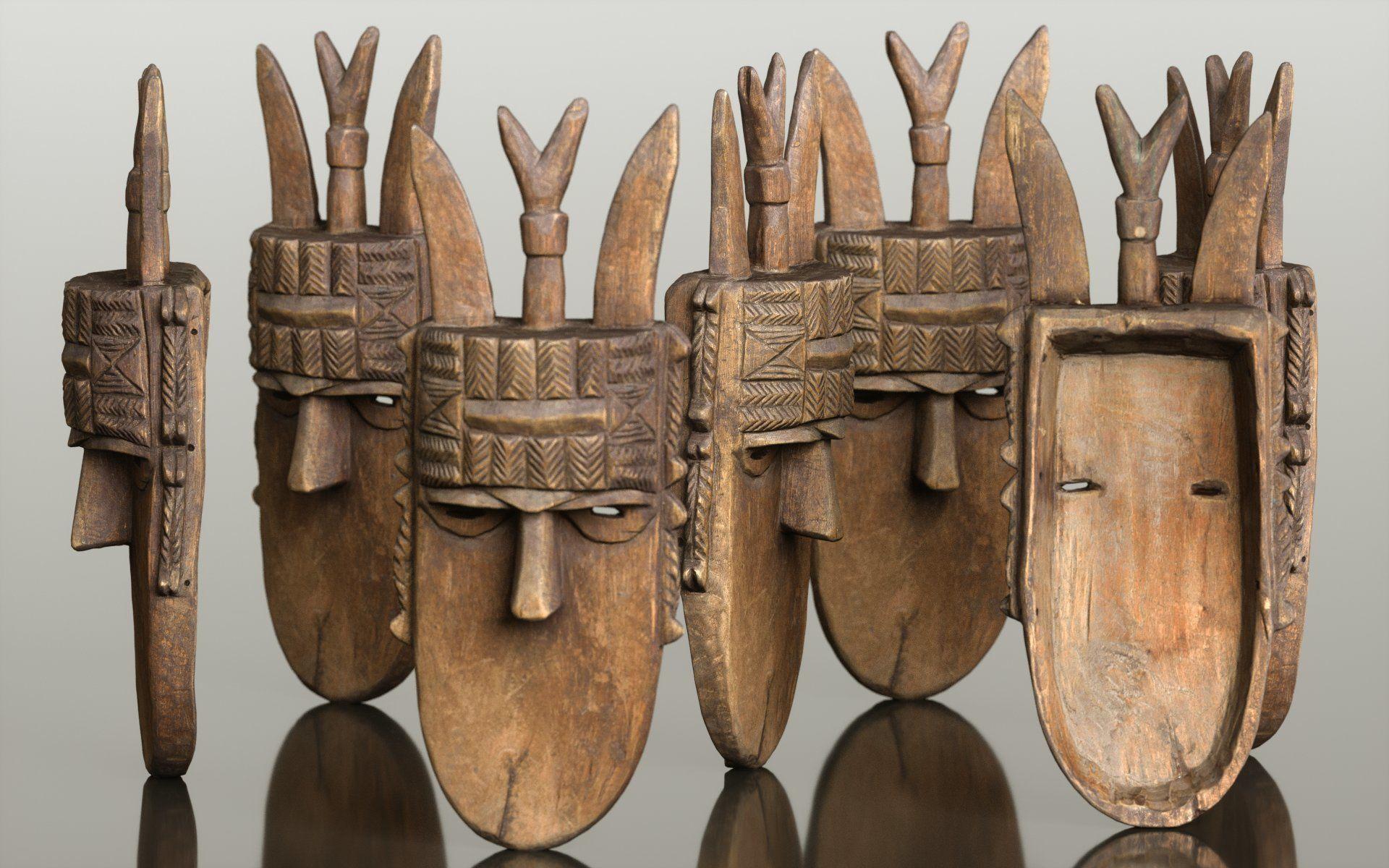Afrikan Mask Carved Wood 47