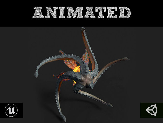 flying monster 3d model low-poly rigged animated fbx tga unitypackage prefab 1