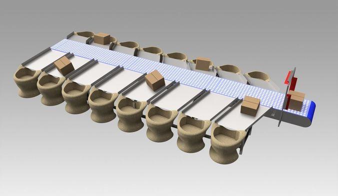 conveyor sorter 3d model max obj mtl fbx dwg ige igs iges stp 1
