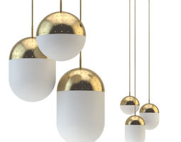 3D model Pendant light woud gold set