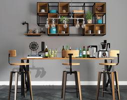 industrial dinner table 3D