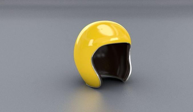 yellow jet helmet 3d 3d model obj mtl fbx c4d stl 1