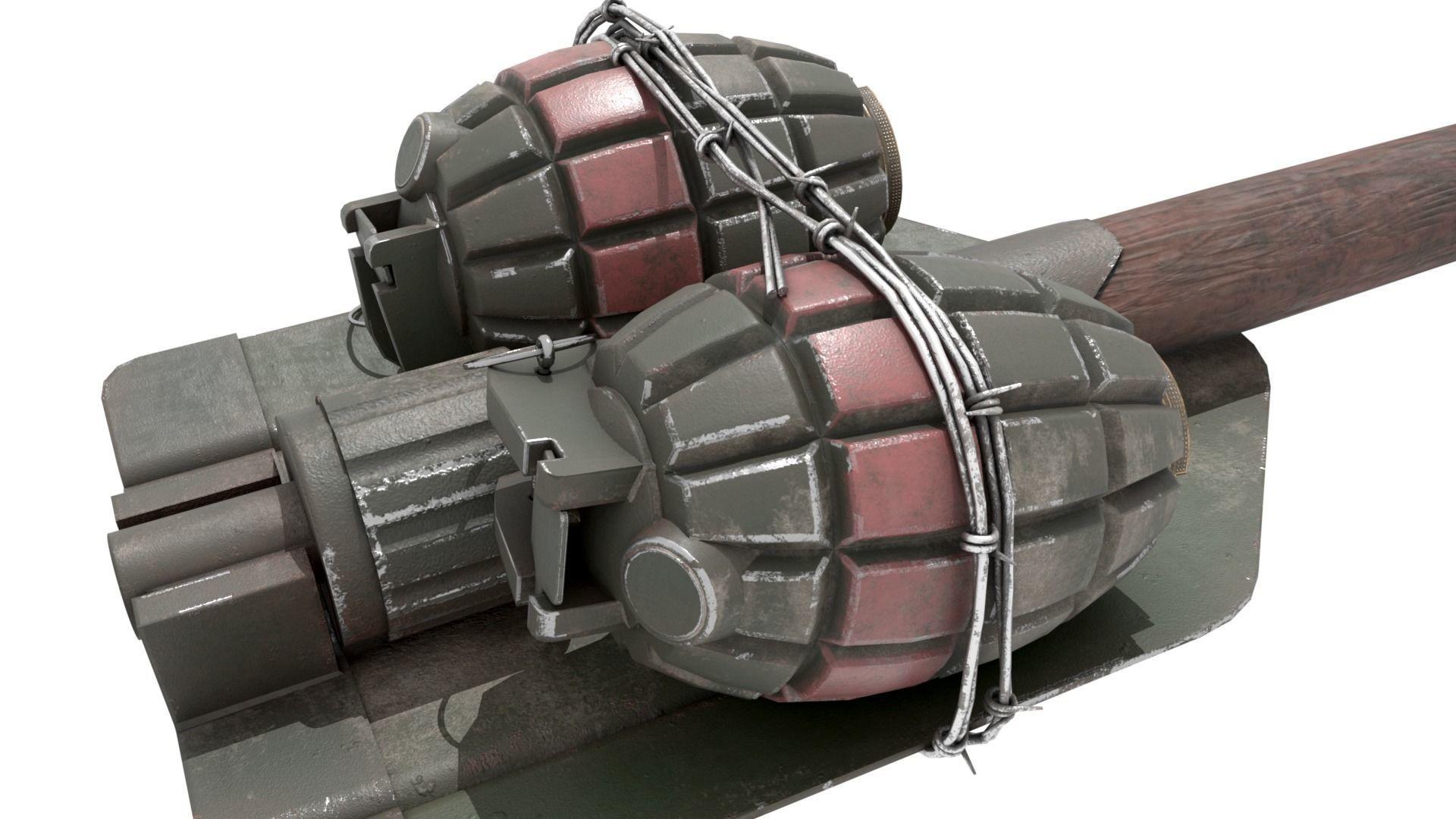 WW2 Improvised Exposive - Folding Shovel Stick Grenade | 3D model