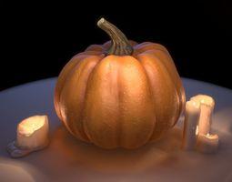 3D asset Festive Pumpkin with candles Halloween set PBR