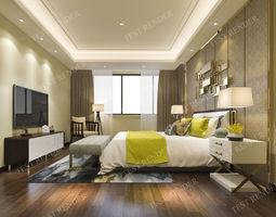 luxury modern bedroom suite in hotel 3D window