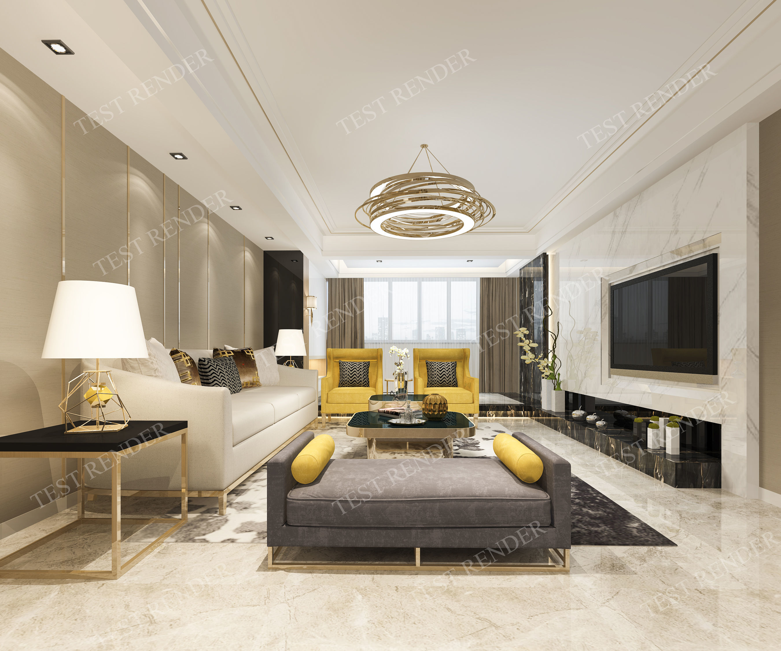 Modern Living Room With Tv Yellow Sofa Model