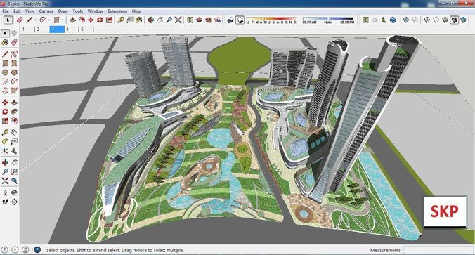 sketchup commercial and office complex b1 3d model skp 1