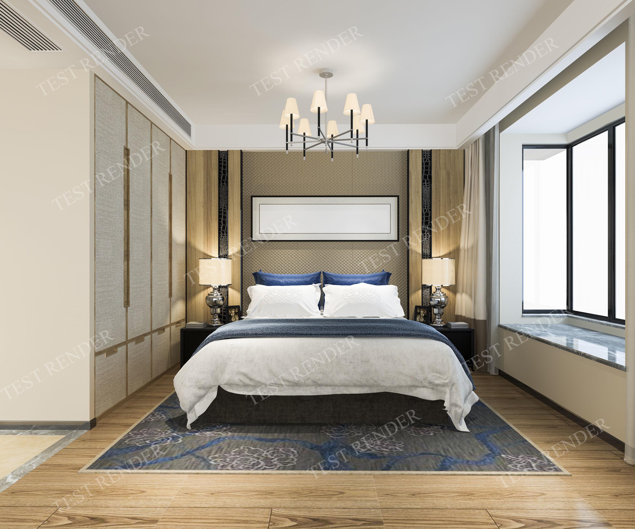 . modern luxury modern bedroom suite in hotel with wardrobe   3D model