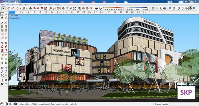 sketchup commercial and office complex b4 3d model skp 1