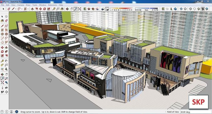 sketchup commercial and office complex b9 3d model skp 1