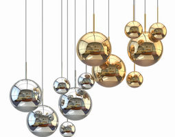 mirror ball pendant chrome and gold light set 3d model