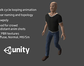 3D model Basic human character - rigged and animated walk