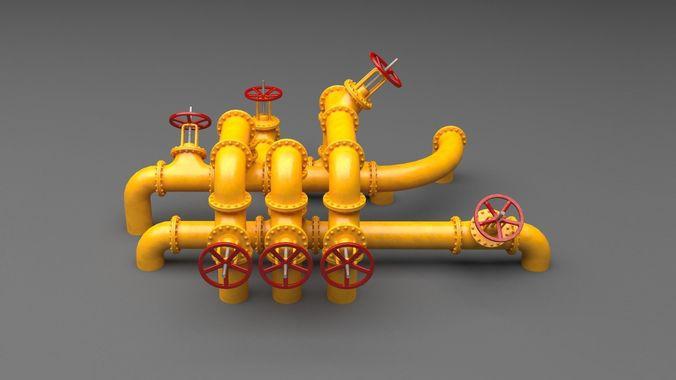 pbr industrial pipes large 3d model low-poly max obj mtl fbx tga mat 1