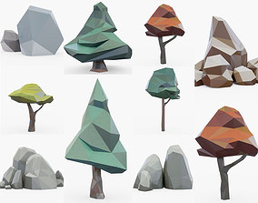 3D fantasy Low Poly Tree Collection