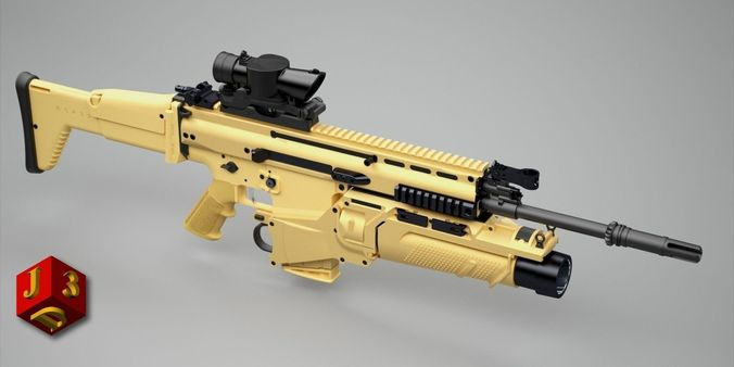 Scar H Assault Rifle 3d Model Obj 3ds Lwo Lw Lws Hrc