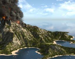 Volcano island in Blender exterior 3D