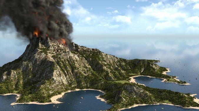 volcano island in blender 3d model blend 1