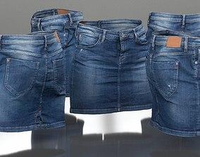 Jeans Mini Skirt Worn 3D asset