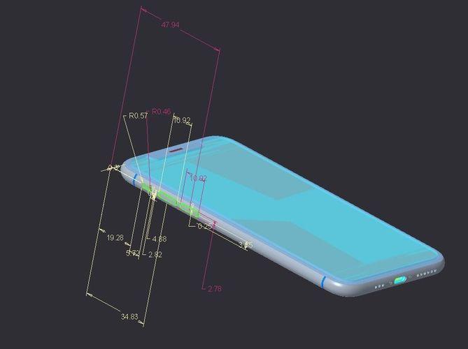 iphone xs - original dimensions 3d model obj mtl stl sldprt sldasm slddrw ige igs iges stp 1