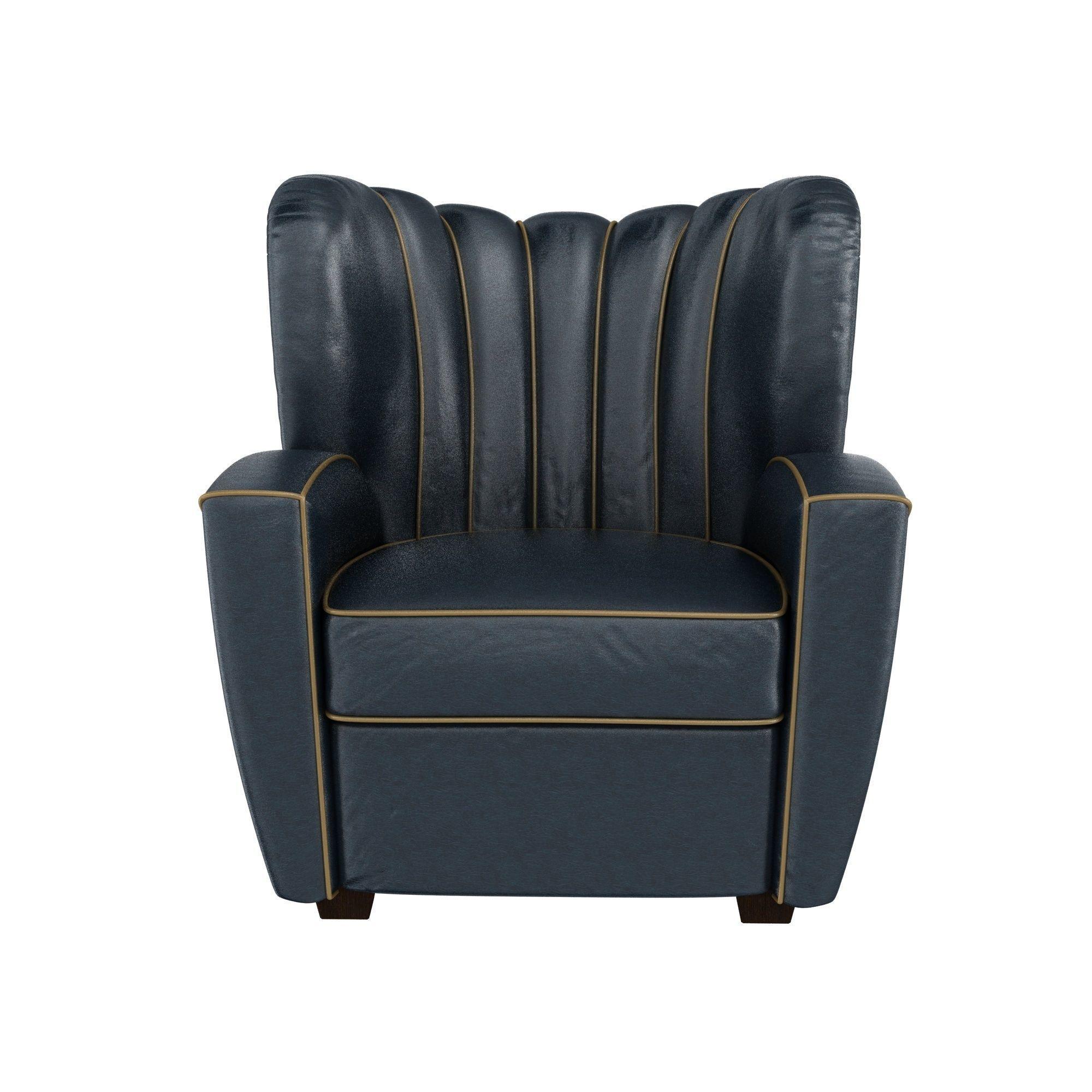 Beau Zarina Black Leather Armchair By Cesare Cassina For Adele 3D Model