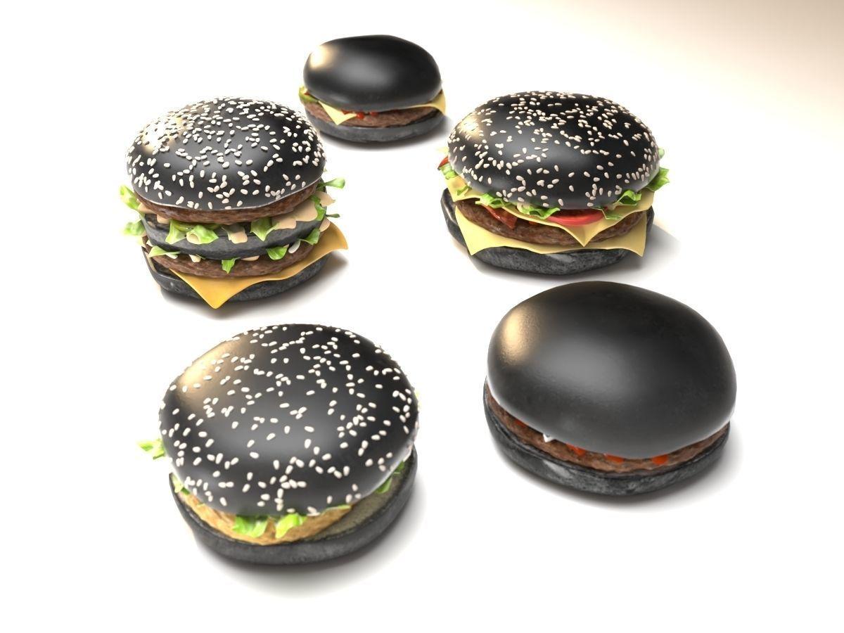 Black burgers collection 3D model