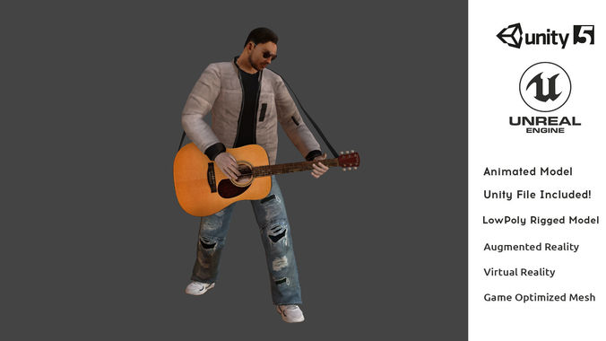 t-vice guitar player animated low poly 3d model ar vr game 3d model low-poly animated fbx ma mb unitypackage prefab mat 1